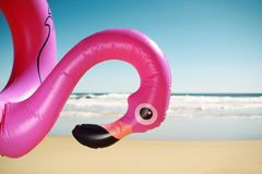 Pink flamingo swim ring on the beach. Closeup of a swim ring in the shape of a pink flamingo on the beach, with the ocean and the blue sky in the background Royalty Free Stock Images