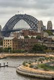 Closeup of Sydney Harbour bridge behind Munns slipway, Australia Stock Images
