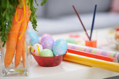 Closeup on table with Easter eggs Stock Images
