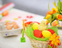 Closeup on table with Easter eggs Royalty Free Stock Photography