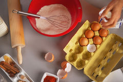 Closeup on table with flavoring eggs dough whisk Stock Photo
