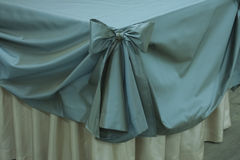 Closeup of tablecloth with ribbon Royalty Free Stock Photography