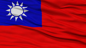 Closeup Taiwan Flag. Waving in the Wind, High Resolution stock images
