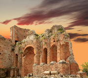 Closeup of Taormina Amphitheater at Sunset Royalty Free Stock Photography