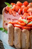 Tasty cake made of jelly and fresh fruits Stock Images