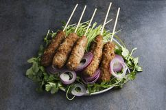 Kebab prepared on skewers, bunch of cilantro and onion rings on dark table in the rustic kitchen royalty free stock images