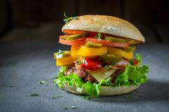 Tasty hamburger with beef, cheese and vegetables. Closeup of tasty hamburger with beef, cheese and vegetables Royalty Free Stock Image
