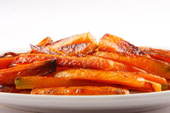 Closeup of Tasty and healthy Baked carrots . Royalty Free Stock Image