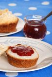 Closeup tea biscuits with jam Royalty Free Stock Image