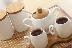 Closeup of a tea set Stock Photo