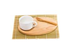 Closeup of tea set on white background Stock Photos