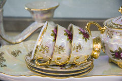 Closeup of teacups / Elegant tea set Stock Photo