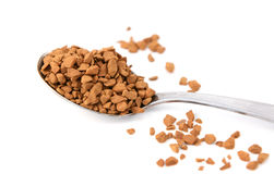 Closeup of a teaspoon of instant coffee granules Royalty Free Stock Images