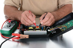 Closeup Technicians Hands Royalty Free Stock Photo