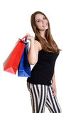 Closeup teen girl with shopping bags Stock Images
