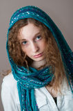 Closeup of a teen girl wearing a headscarf Royalty Free Stock Images