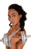 Closeup of teenager exercising with dumbbell's. stock photography