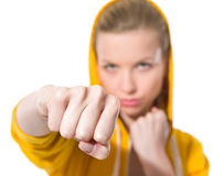 Closeup on teenager girl punching Royalty Free Stock Image