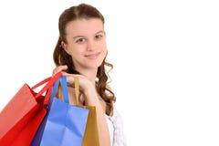 Closeup teenager with shopping bags Stock Photos
