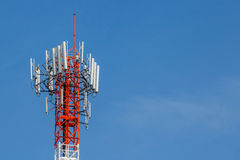 Closeup telecommunications tower with beautiful blue sky backgro Stock Photography