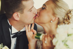 Closeup of tenderly kissing wedding couple Stock Image
