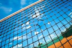 Closeup tennis net with blue sky Royalty Free Stock Photo