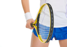 Closeup on tennis player holding tennis racket Royalty Free Stock Photos
