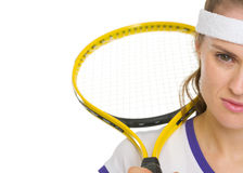 Closeup on tennis player with racket Stock Photo