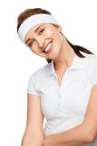 Closeup tennis portrait happy athletic woman in gym clothes Stock Photos