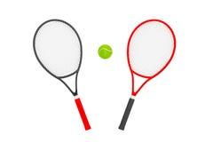 Closeup Tennis Rackets with ball Stock Photos
