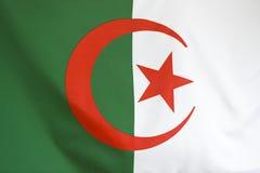 Closeup of textile Algeria flag. For background Stock Photo