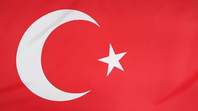 Closeup of textile flag of Turkey stock video footage