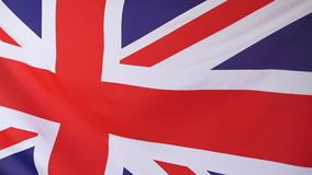 Closeup of a textile flag of United Kingdom. In the wind stock footage