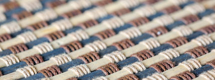 Closeup Texture of Bamboo Mat. Weave With Rope Royalty Free Stock Photos