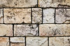 Closeup texture of brick aged wall in sand color outdoor Stock Images