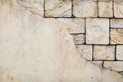 Closeup texture of brick aged wall in sand color outdoor with space for text Stock Photography