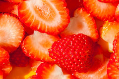 Closeup texture of sliced strawberry, rich of juicy and fresh. Stock Photography