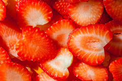 Closeup texture of sliced strawberry, rich of juicy and fresh. Stock Photo