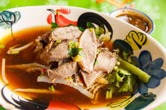 Closeup Thai noodle. With blur background Royalty Free Stock Image
