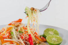Closeup Thai papaya salad serve with vegetables, Som Tum Thai Isan Food Royalty Free Stock Photo