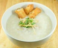 Closeup Thai rice porridge with pork, con gee. Closeup Thai rice porridge with pork stock image