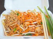 Closeup of Thai style stir fried noodle packed in carrying foam ware Stock Photo