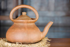 THAI TRADITIONAL CLAY POT. Closeup of Thai traditional clay pot stock photo
