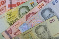 Closeup of thailand currency, thai baht with the images of Thailand King. Close up of thailand currency, thai baht with the images of Thailand King cash bath royalty free stock photo