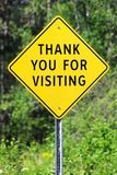 Closeup of a thank you for visiting sign.  royalty free stock photo