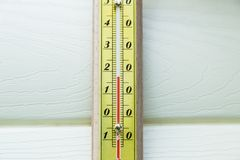 Closeup thermometer showing temperature Royalty Free Stock Images