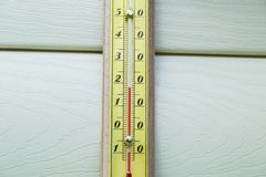 Closeup thermometer showing temperature Stock Photos