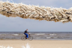 Closeup thick rope and cyclist go sea coast beach Stock Photography