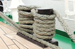Closeup of thick ropes on sailboat Royalty Free Stock Photo