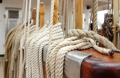 Closeup of thick ropes on sailboat Stock Photo
